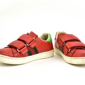 """GUCCI Red Leather """"GG"""" Logo """"Web Stripe"""" Sneakers"""